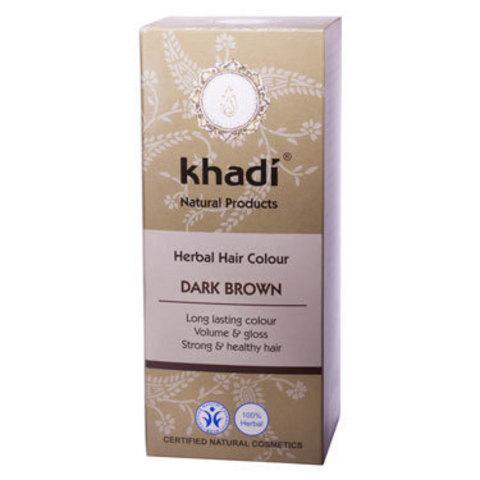 Растительная краска для волос темно-коричневая Khadi, 100 гр