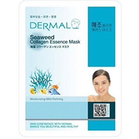 Dermal Маска д/лица ткан. морские водоросли и коллаген - очищение Seaweed Collagen Essence, 23 гр