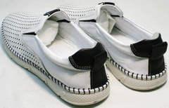 Спортивные мокасины мужские туфли на плоской подошве Ridge Z-441 White Black.