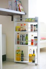 Полка выдвижная белая, для кухни и ванной комнаты (4-х этажная)