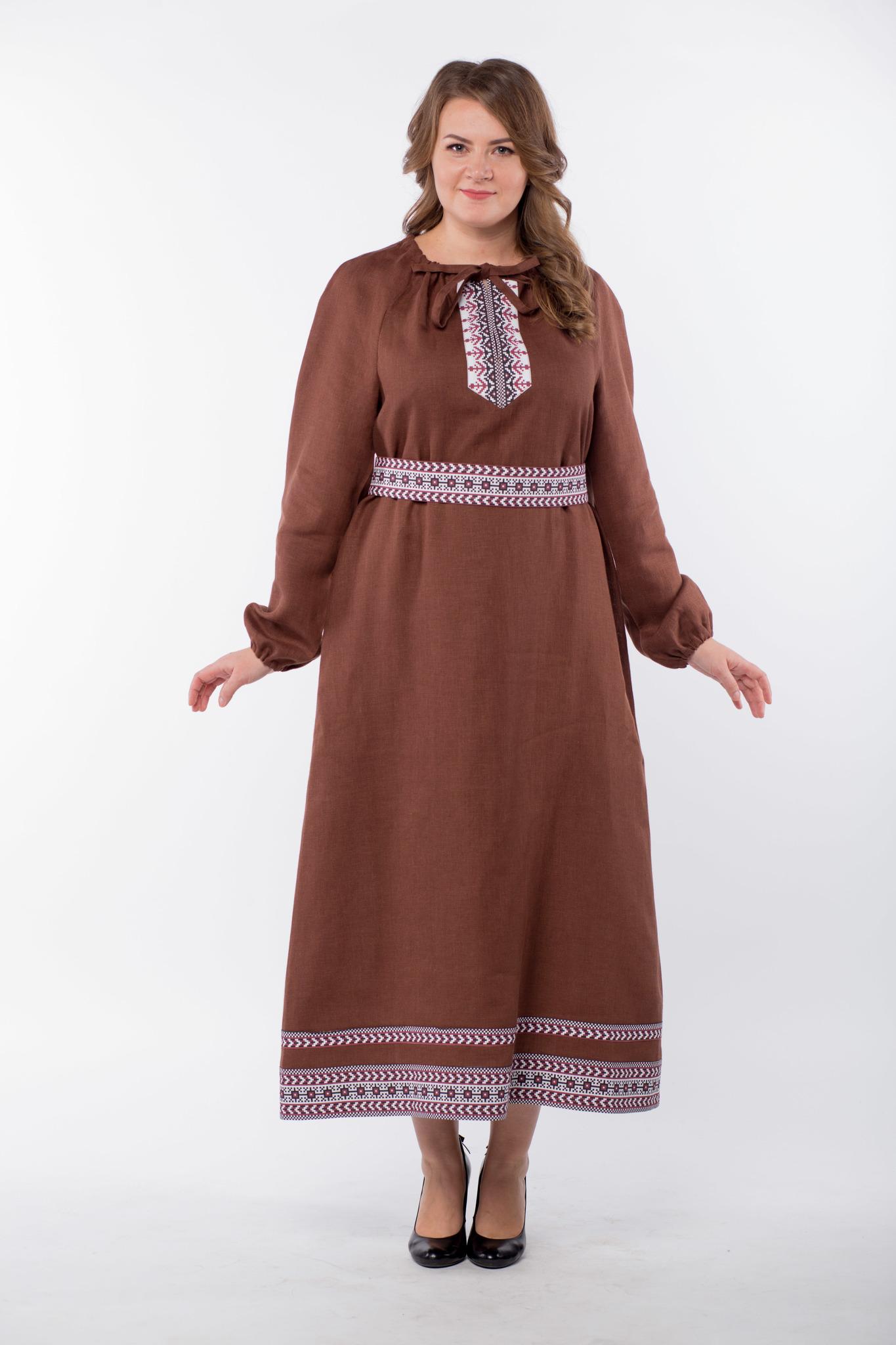 Платье льняное Новгородское 50-52 размер