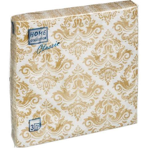 Салфетки бумажные Классика 33x33 3сл. Золотой орнамент