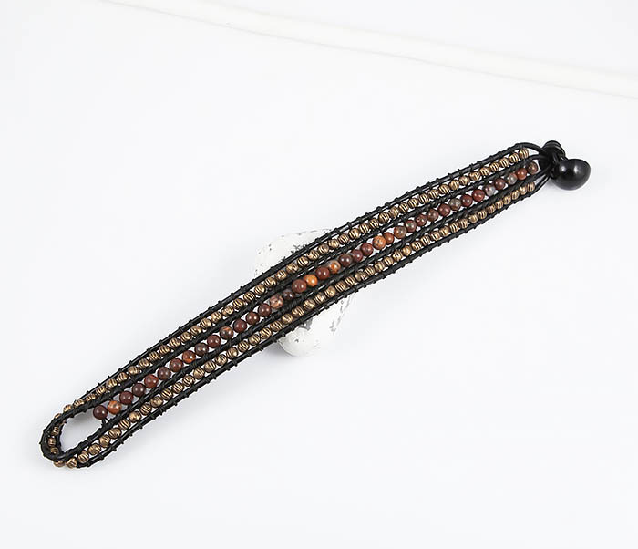 BS813 Необычный широкий браслет из яшмы и металла фото 02