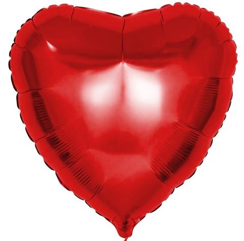 Фольгированный воздушный шар большое сердце, красное , 81 см