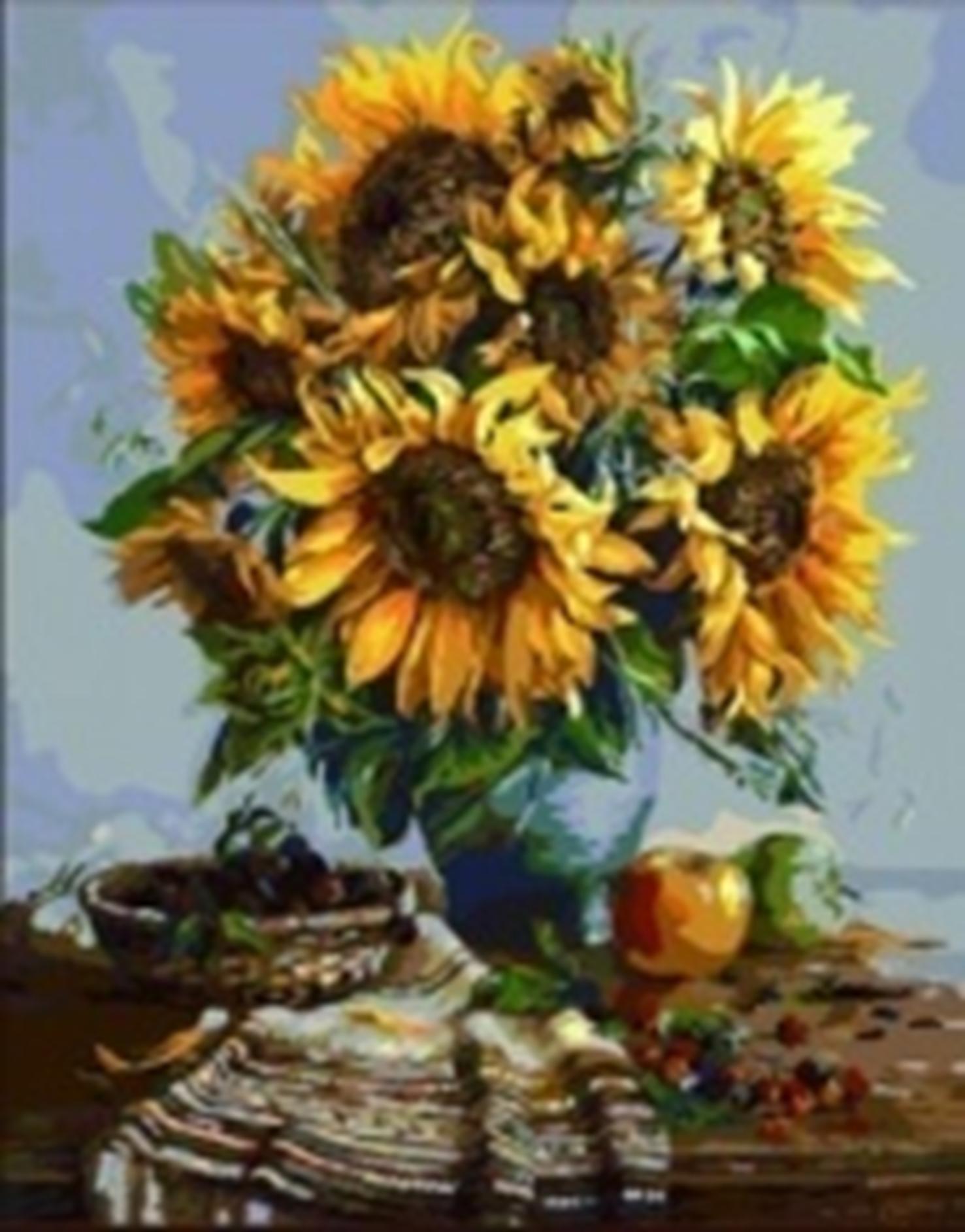 Картина раскраска по номерам 30x40 Подсолнухи в вазе (арт ...