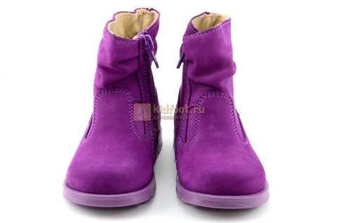 Полусапожки демисезонные Тотто из натуральной кожи на байке для девочек, цвет фиолетовый. Изображение 5 из 13.