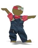 Полукомбинезон из джинсовой ткани - Демонстрационный образец. Одежда для кукол, пупсов и мягких игрушек.