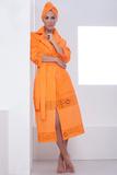 Оранжевый махровый халат и тюрбан Luna di Giorno