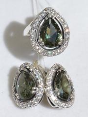 Клео (кольцо + серьги из серебра)
