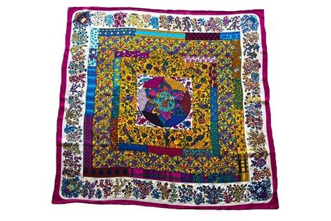 Итальянский платок из шелка цветной с квадратами 5177