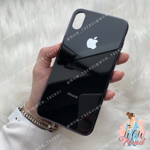Чехол iPhone X/XS Glass Case Logo /black/