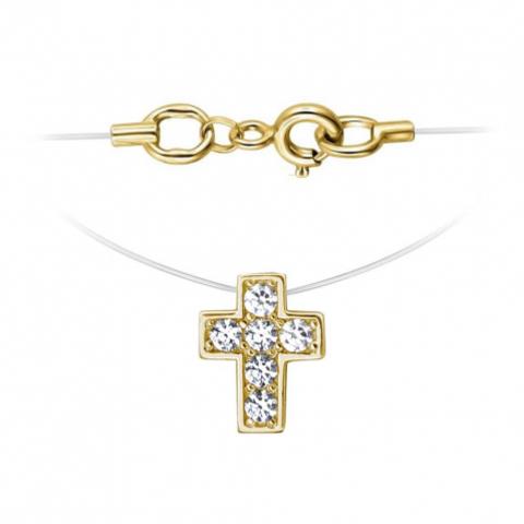 01Л131818 Крестик из желтого золота на леске-невидимке с золотыми замочками