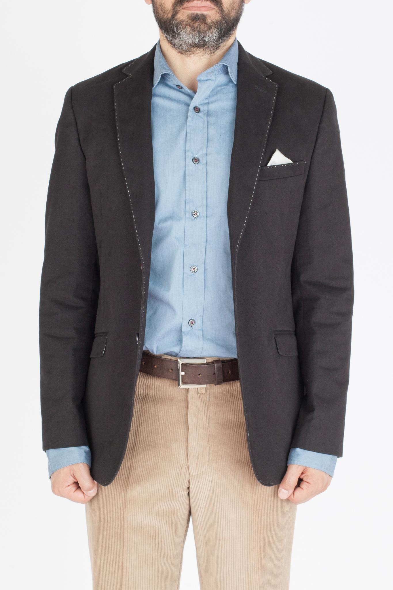 Чёрный хлопковый пиджак с контрастным швом