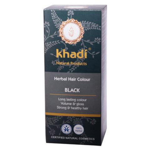Растительная краска для волос черная Khadi, 100 гр