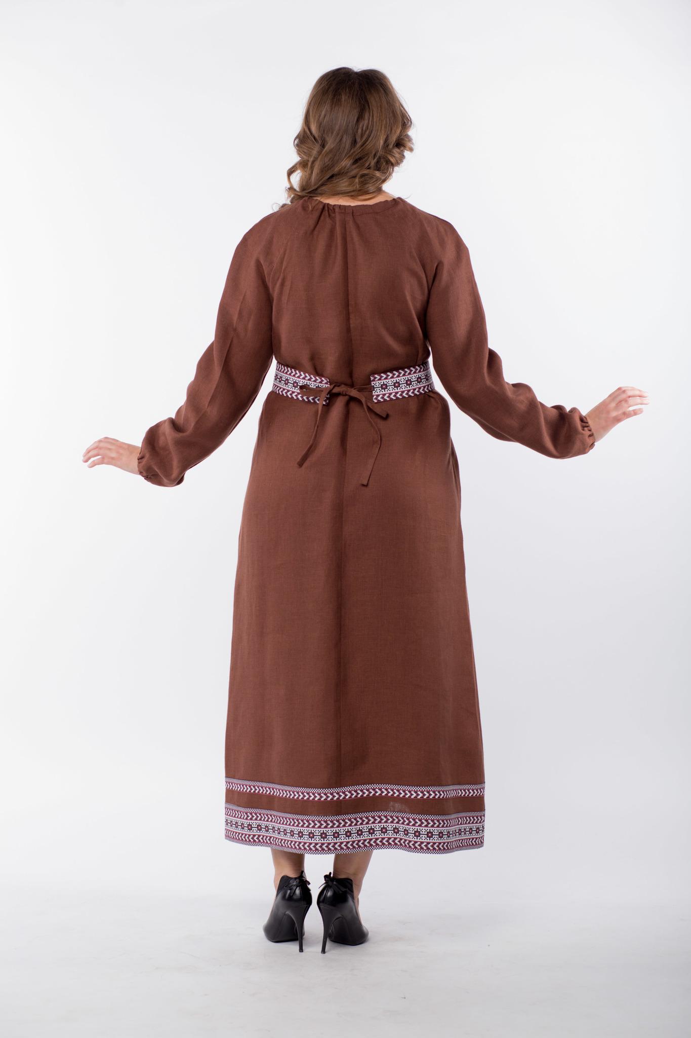 Платье льняное Новгородское 50-52 размер вид сзади