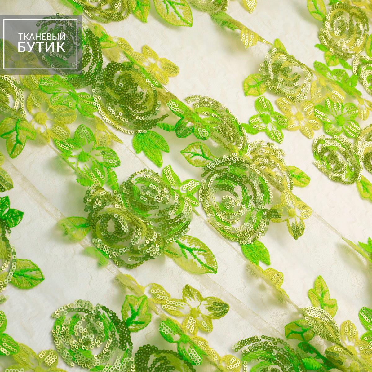 Желто-зеленая вышивка с пайетками