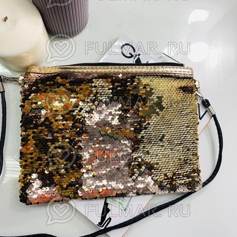 Клатч-сумочка на молнии детская с пайетками меняющая цвет Пудровый-Золотистый