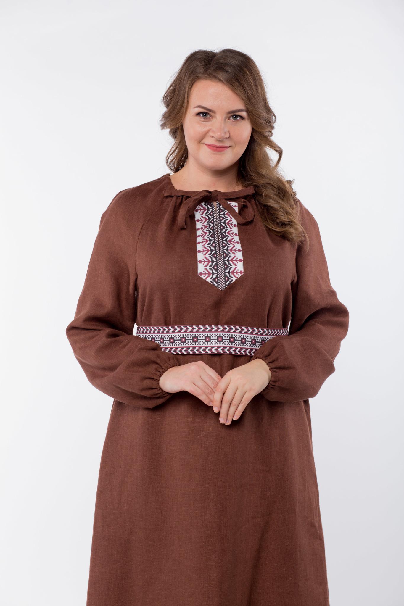 Платье льняное Новгородское 50-52 размер приближенный фрагмент