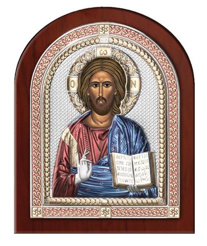 Серебряная икона Иисуса Христа Спасителя в рамке