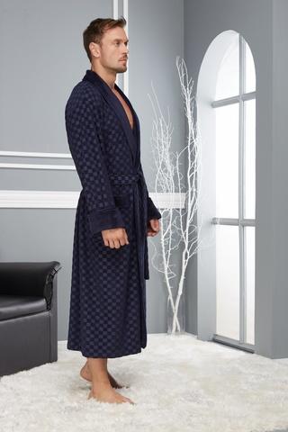 Классический мужской халат 2950-3 синий  Nusa Турция