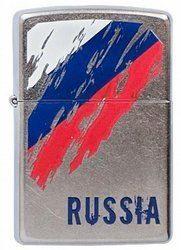 Зажигалка ZIPPO Classic Street Chrome™ Полноцветное изображение флага России ZP-207 Russia Flag