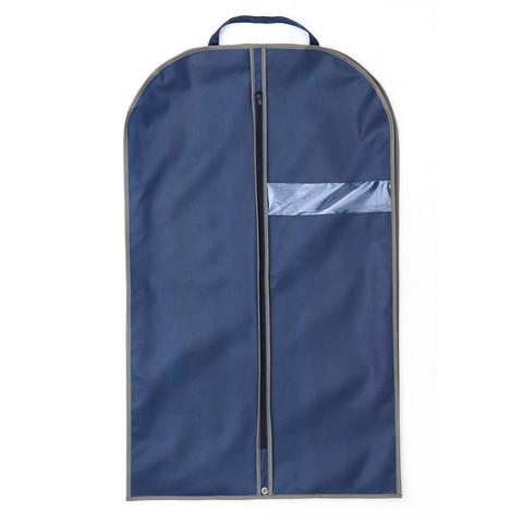 Чехол для одежды из спанбонда с окошком синий, кант серый, BL 100-60