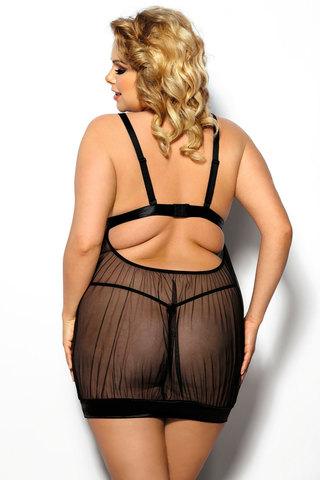 Прозрачная эротичная сорочка черная для полных женщин