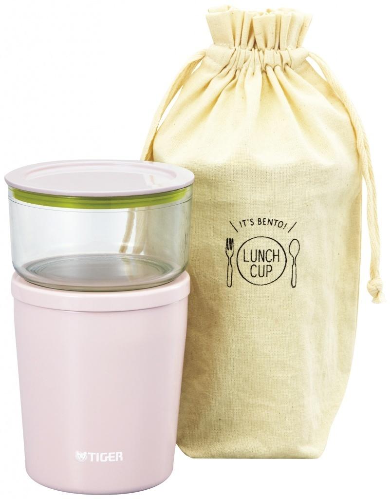 Термос для еды с контейнерами Tiger LCC-A (0,3л + 0,25л), розовый + чехол