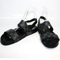 Модные мужские босоножки Louis Vuitton 1008 01Blak.