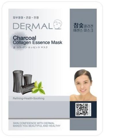 Dermal Маска д/лица ткан. уголь и коллаген - для жирн. кожи Charcoal Collagen Essence Mask, 23 гр