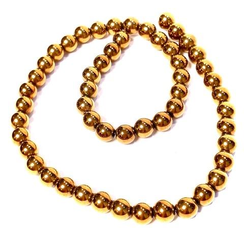Бусины гематит шар гладкий 8 мм золотой