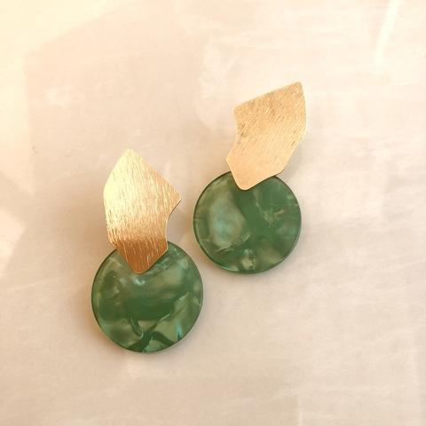 Серьги Нефир, со светло-зеленой вставочкой