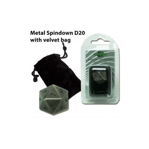 Blackfire Dice - D20 Metal Spindown with velvet bag - Antique Silver