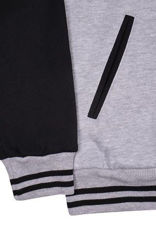 Бомбер серый с черным фото рукав