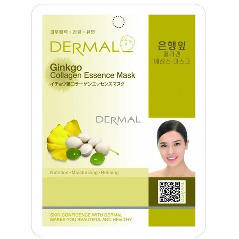 Dermal Маска д/лица ткан. экстракт листьев гинкго и коллаген Ginkgo Collagen Essence Mask, 23 гр