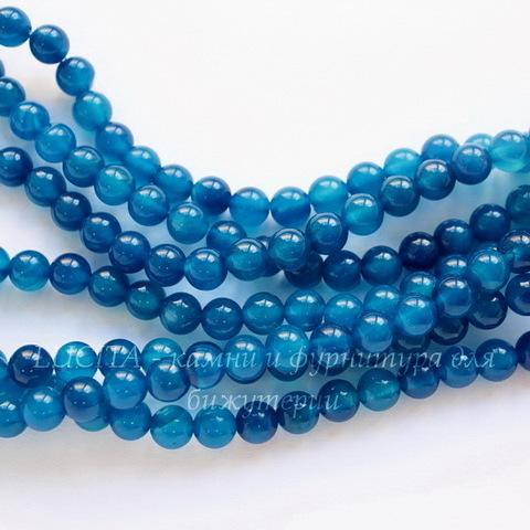 Бусина Агат (тониров), шарик, цвет - синий, 6 мм, нить (темные)