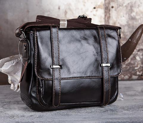 BAG433-2 Мужская сумка портфель из коричневой кожи с ремнем на плечо