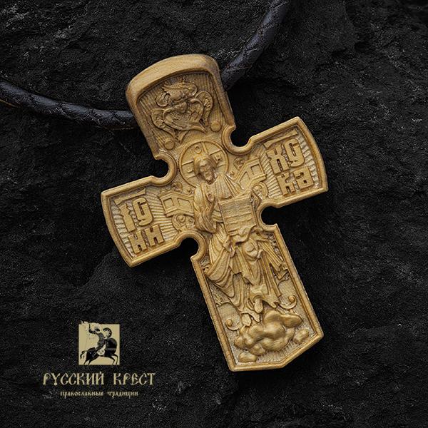 Деревянный нательный православный крест Вседержитель из самшита
