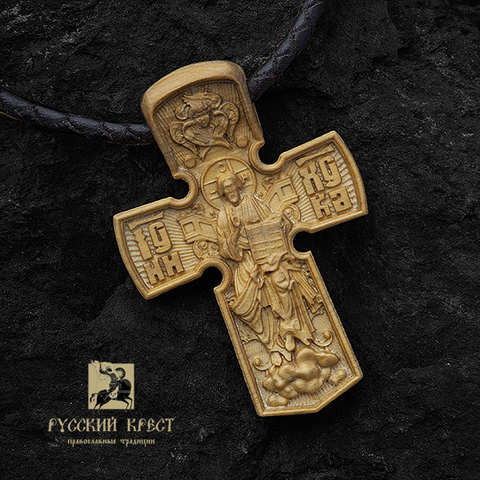 Крест нательный деревянный. Господь Вседержитель на троне.