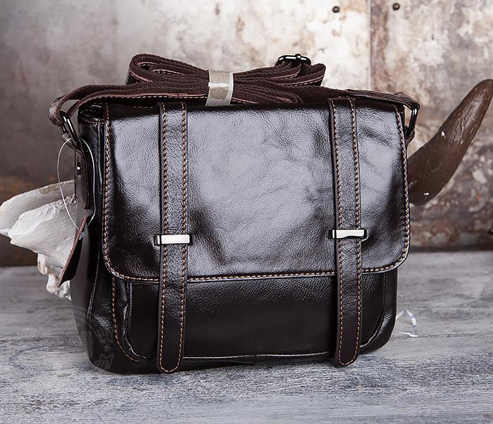 BAG433-2 Мужская сумка портфель из коричневой кожи с ремнем на плечо фото 02