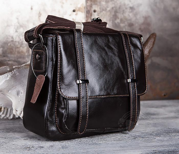 BAG433-2 Мужская сумка портфель из коричневой кожи с ремнем на плечо фото 03