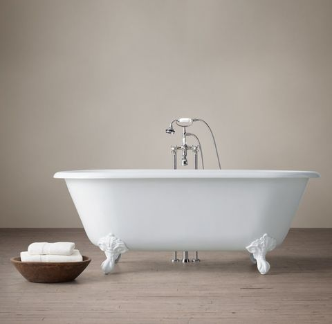 Vintage Imperial Clawfoot Tub with Cross-Handle Tub Fill - White Feet