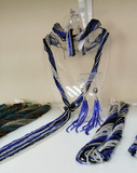 Бисерный галстук из 18 нитей черно-синий