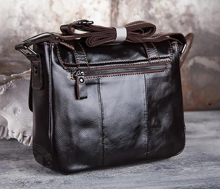 BAG433-2 Мужская сумка портфель из коричневой кожи с ремнем на плечо фото 04