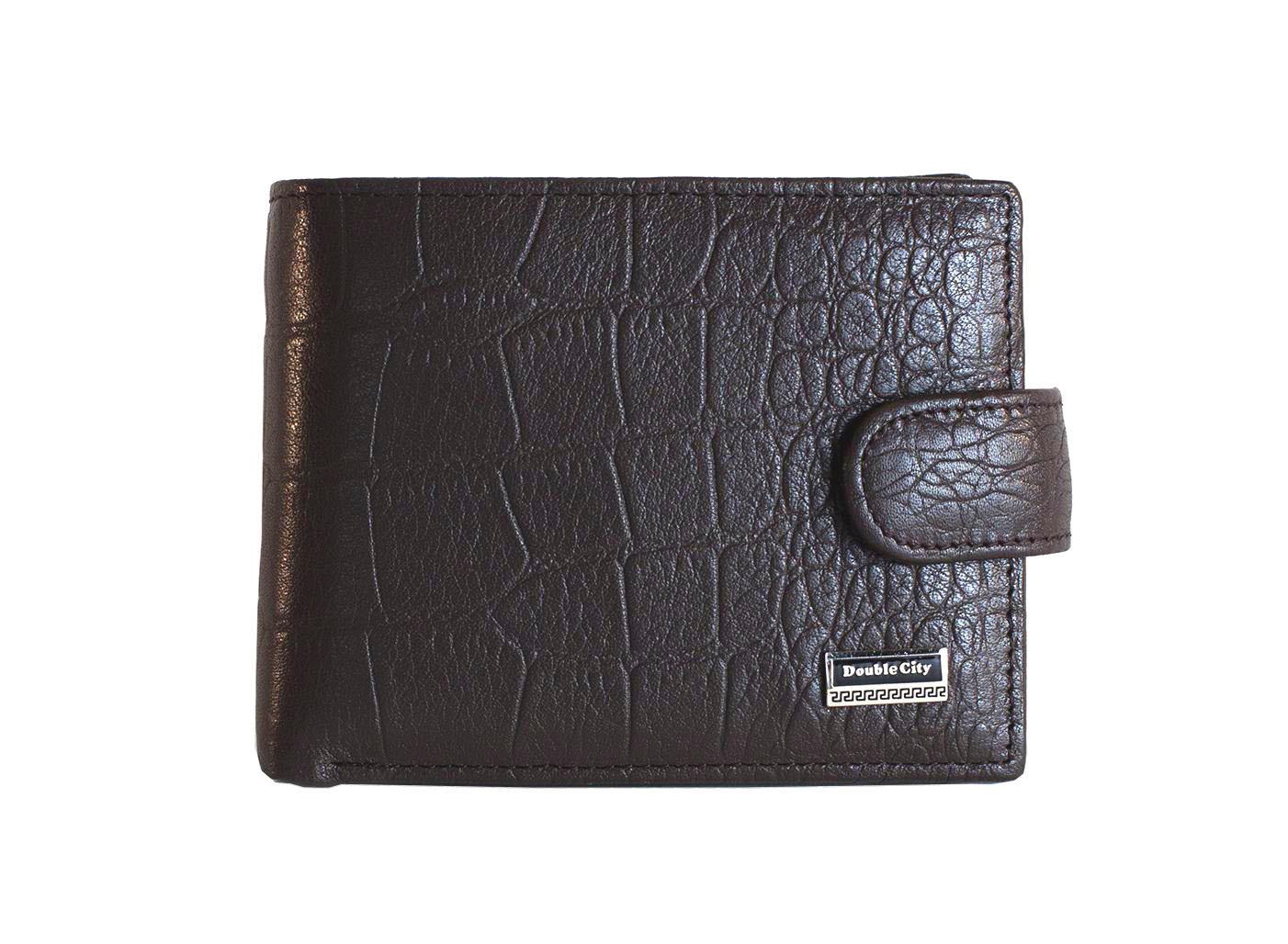 Компактное портмоне тёмно-коричневое из натуральной кожи Dublecity 063-DC9-04B
