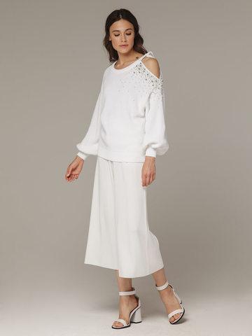 Женский белый джемпер из 100% хлопка со спущенным рукавом - фото 3