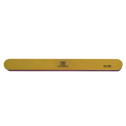 Пилка для ногтей узкая 100/180 высокое качество (золото) в индивидуальной упаковке (пластиковая основе)