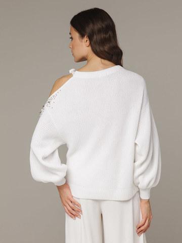 Женский белый джемпер из 100% хлопка со спущенным рукавом - фото 2