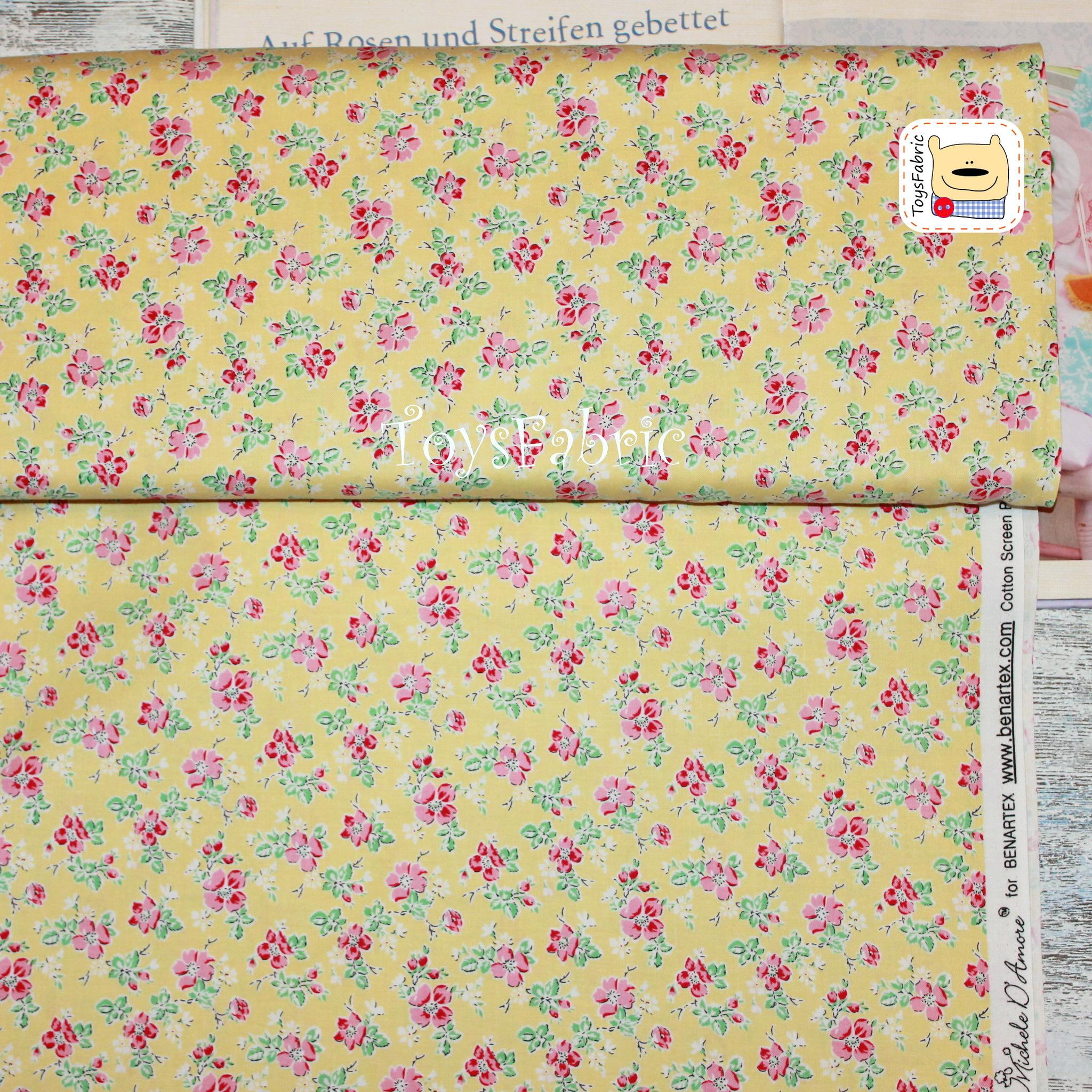 Ткань для пэчворка 20616 (цветы на желтом) 45х55см