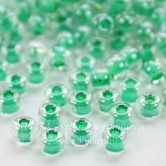 38656 Бисер 6/0 Preciosa Кристалл блестящий с зелено-мятным центром